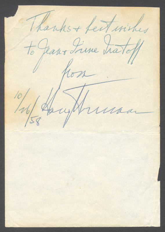 Image 1 for President Harry S Truman - Inscribed Signature 10/26/1958 - HFSID 176838