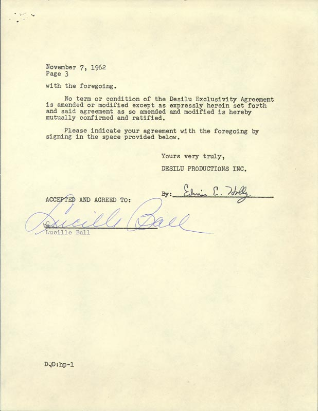 Image 1 for Lucille 'Lucy' Ball - Contract Signed 11/07/1962 co-signed by: Edwin E. Holly - HFSID 176947