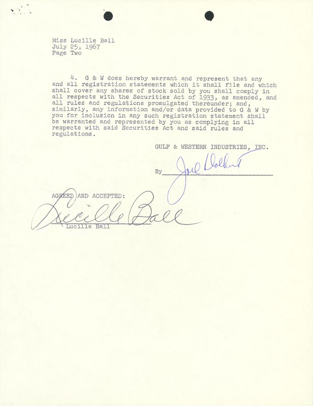 Image 1 for Lucille 'Lucy' Ball - Contract Signed 07/25/1967 - HFSID 176948