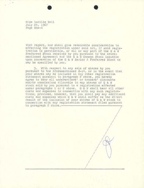 Image 4 for Lucille 'Lucy' Ball - Contract Signed 07/25/1967 - HFSID 176948