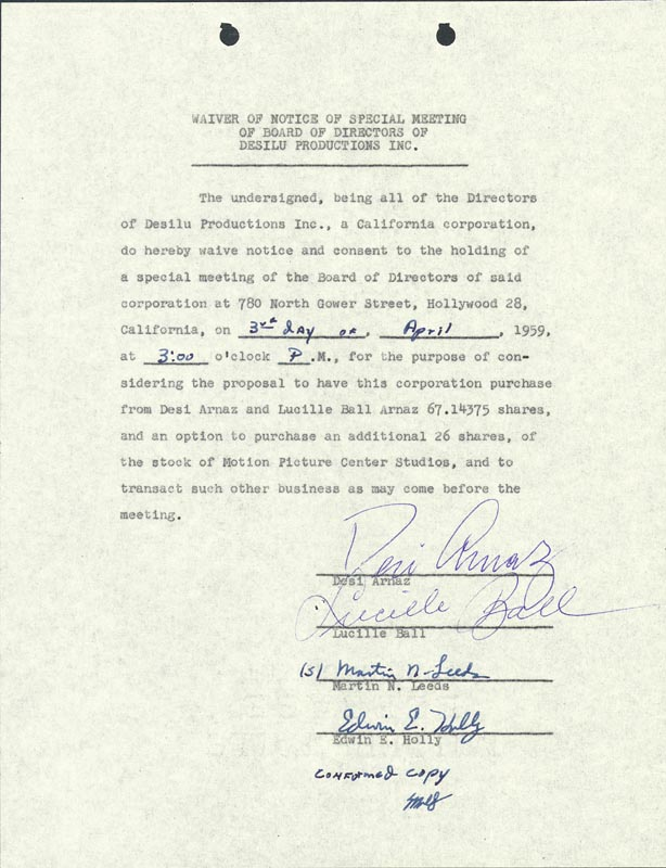 Image 1 for Lucille 'Lucy' Ball - Waiver Signed 04/03/1959 co-signed by: Martin N. Leeds, Edwin E. Holly, Desi Arnaz Sr. - HFSID 176953