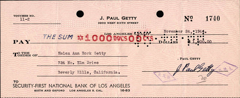 Image 1 for J. Paul Getty - Autographed Signed Check 11/24/1944 co-signed by: Ann Rork Getty - HFSID 177119