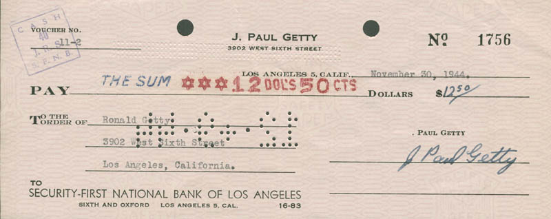Image 1 for J. Paul Getty - Autographed Signed Check 11/30/1944 co-signed by: Jean Ronald Getty - HFSID 177133