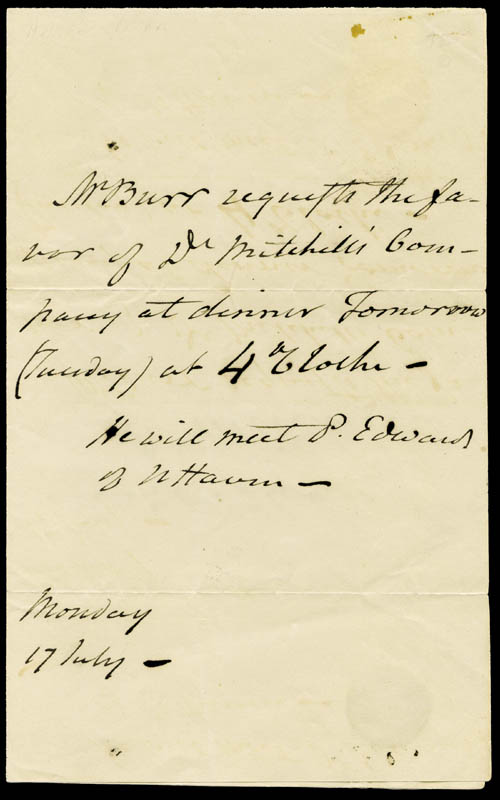 Image 1 for Vice President Aaron Burr - Third Person Autograph Letter 07/17 - HFSID 177204