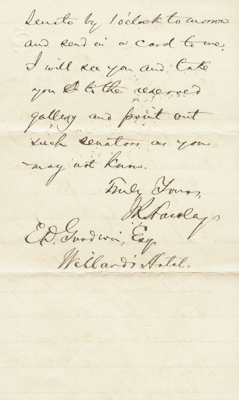 Image 1 for Major General Joseph R. Hawley - Autograph Letter Signed 02/18/1883 - HFSID 177228
