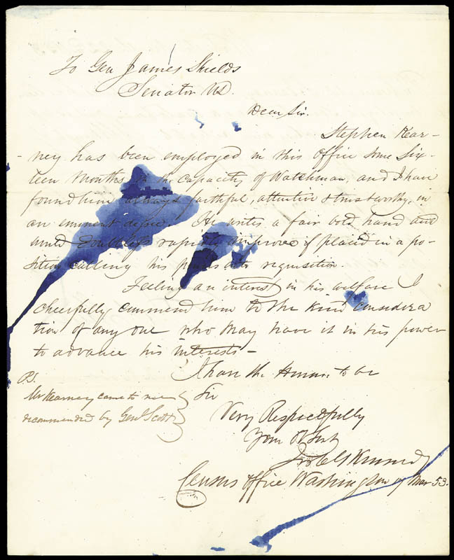 Image 1 for Brigadier General James Shields - Autograph Letter Signed 03/22/1853 co-signed by: Pierre Soule, J. C. G. Kennedy - HFSID 177243