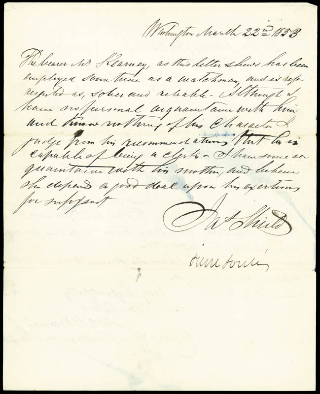 Image 3 for Brigadier General James Shields - Autograph Letter Signed 03/22/1853 co-signed by: Pierre Soule, J. C. G. Kennedy - HFSID 177243