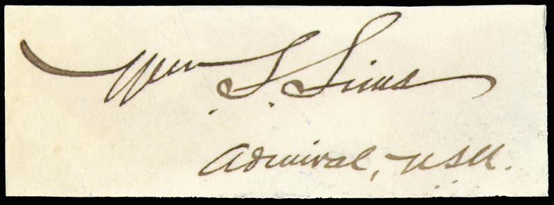 Image 1 for Admiral William S. Sims - Autograph - HFSID 177274