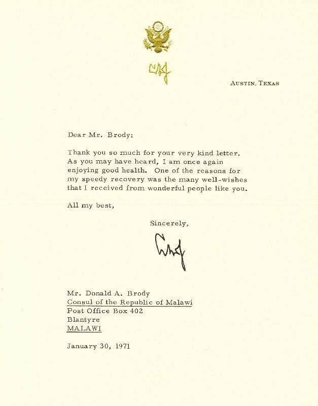 Image 1 for President Lyndon B. Johnson - Typed Letter Signed 01/30/1971 - HFSID 177319