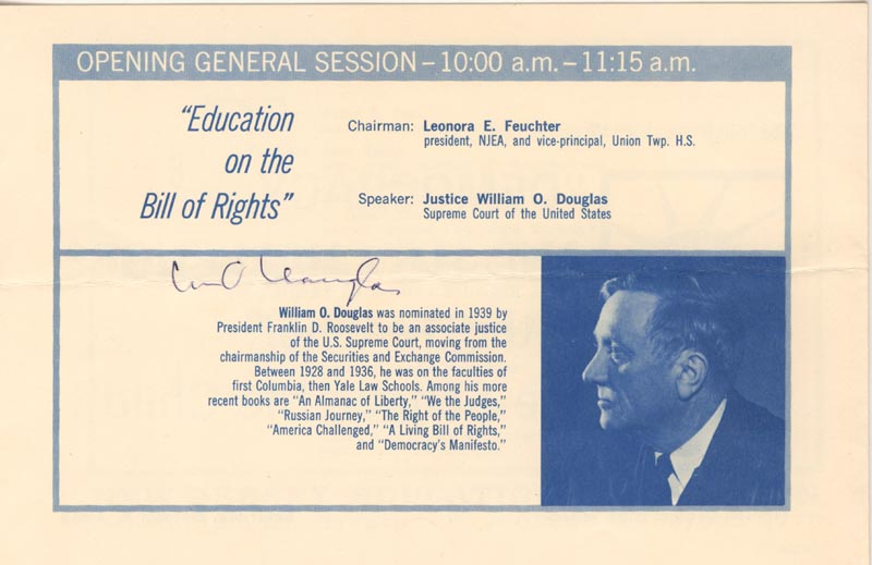 Image 1 for Associate Justice William O. Douglas - Program Signed Circa 1963 - HFSID 177341