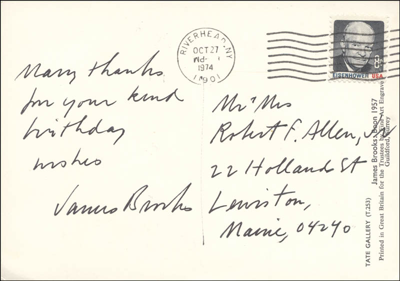 Image 1 for James Brooks - Autograph Note Signed Circa 1974 - HFSID 177456