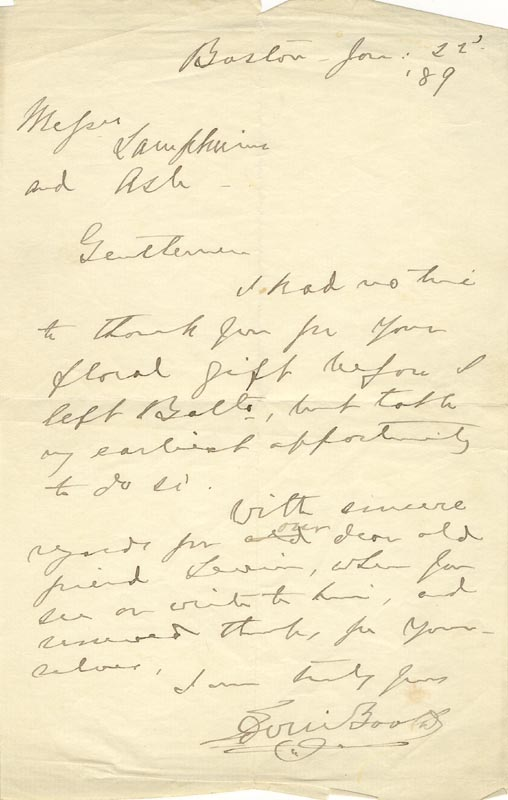 letters of note edwin booth autograph letter signed 01 22 1889 35753