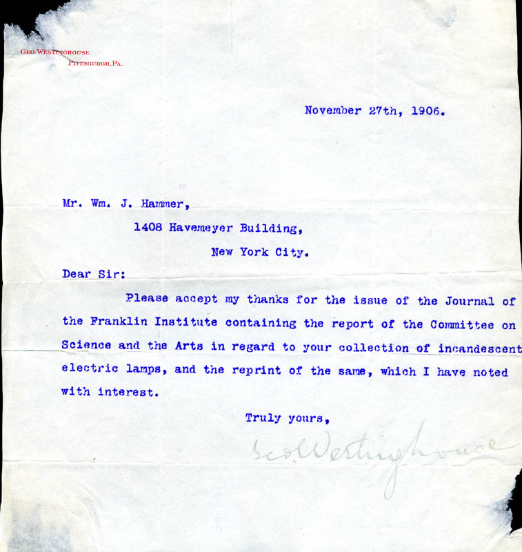 Image 1 for George Westinghouse Jr. - Typed Letter Signed 11/27/1906 - HFSID 177627