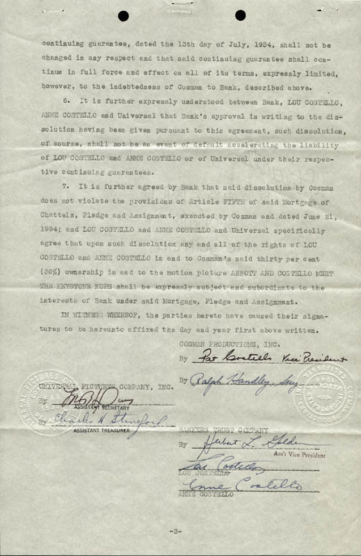 Image 1 for Abbott & Costello (Lou Costello) - Contract Signed 08/15/1955 with co-signers - HFSID 177684