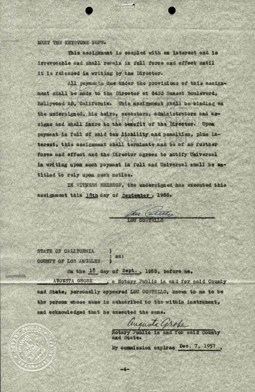 Image 1 for Abbott & Costello (Lou Costello) - Document Signed 09/18/1955 co-signed by: Anne (Mrs. Lou) Costello - HFSID 177685