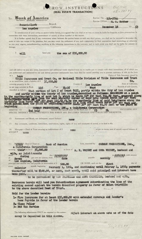 Image 3 for Abbott & Costello (Lou Costello) - Document Signed 12/18/1953 - HFSID 177686