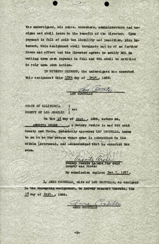 Image 1 for Abbott & Costello (Lou Costello) - Document Signed 09/18/1955 co-signed by: Anne (Mrs. Lou) Costello - HFSID 177687