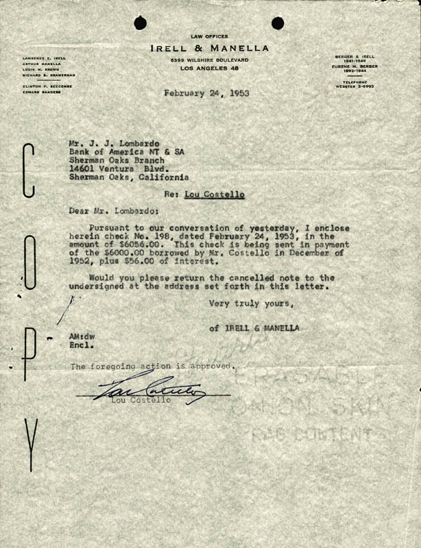 Image 1 for Abbott & Costello (Lou Costello) - Document Signed 02/24/1953 - HFSID 177688