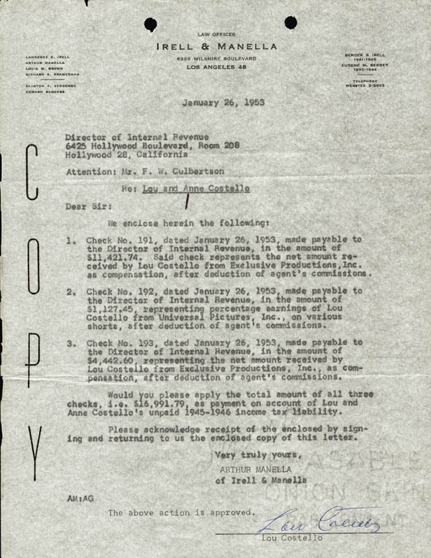 Image 1 for Abbott & Costello (Lou Costello) - Document Signed 01/26/1953 - HFSID 177689