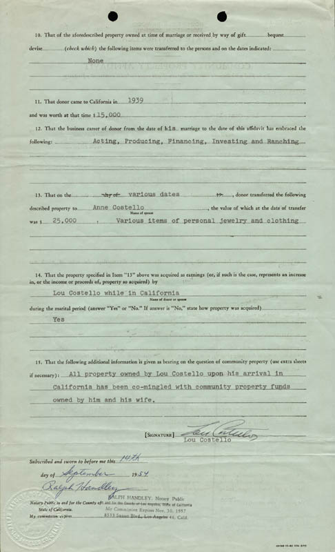 Image 1 for Abbott & Costello (Lou Costello) - Document Signed 09/14/1954 - HFSID 177690