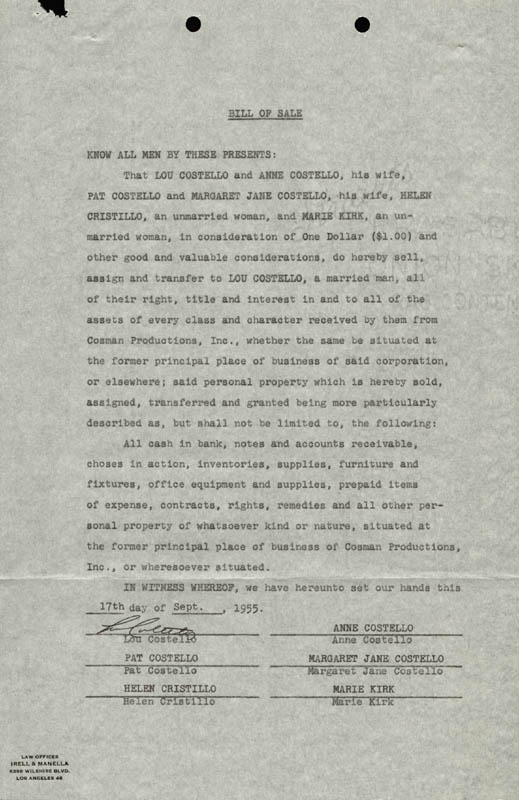 Image 1 for Abbott & Costello (Lou Costello) - Document Signed 09/17/1955 - HFSID 177692