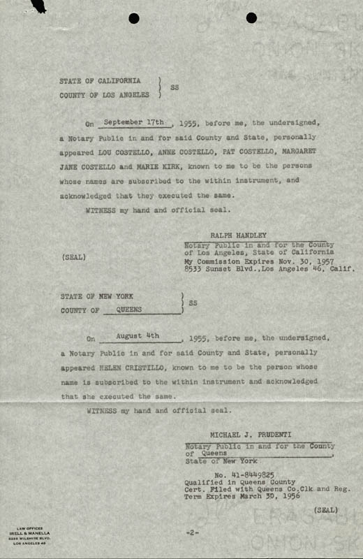 Image 3 for Abbott & Costello (Lou Costello) - Document Signed 09/17/1955 - HFSID 177692
