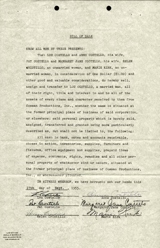 Image 1 for Abbott & Costello (Lou Costello) - Document Signed 09/17/1955 with co-signers - HFSID 177693