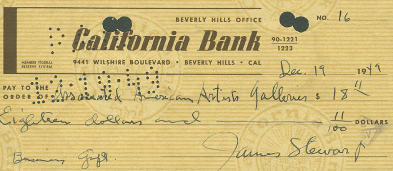 Image 1 for James 'Jimmy' Stewart - Autographed Signed Check 12/19/1949 - HFSID 177734