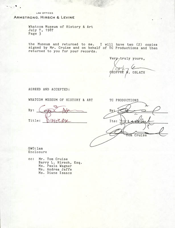 Image 1 for Tom Cruise - Document Double Signed 07/07/1987 - HFSID 177829