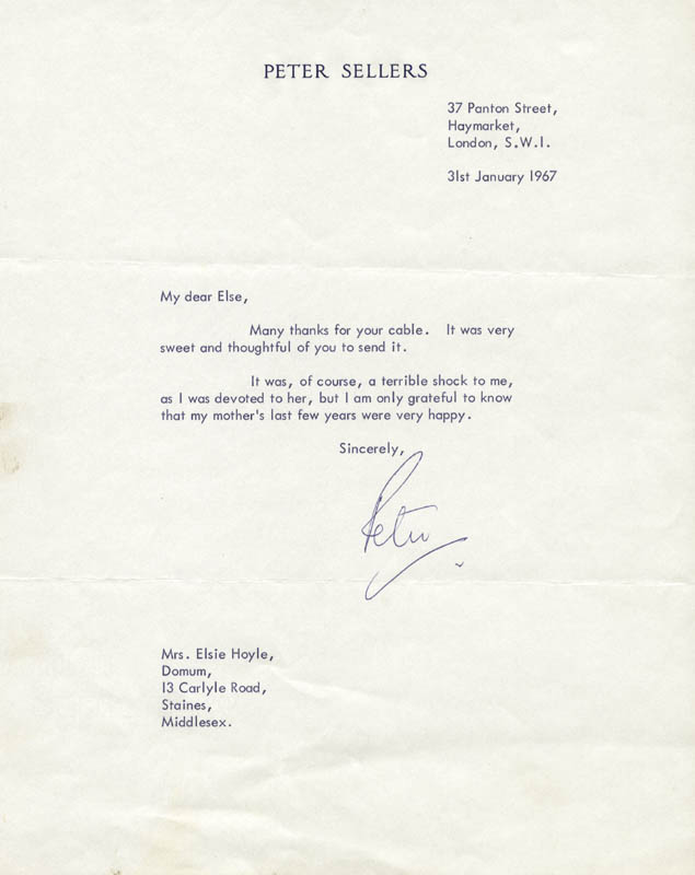 Image 1 for Peter Sellers - Typed Letter Signed 01/31/1967 - HFSID 177898