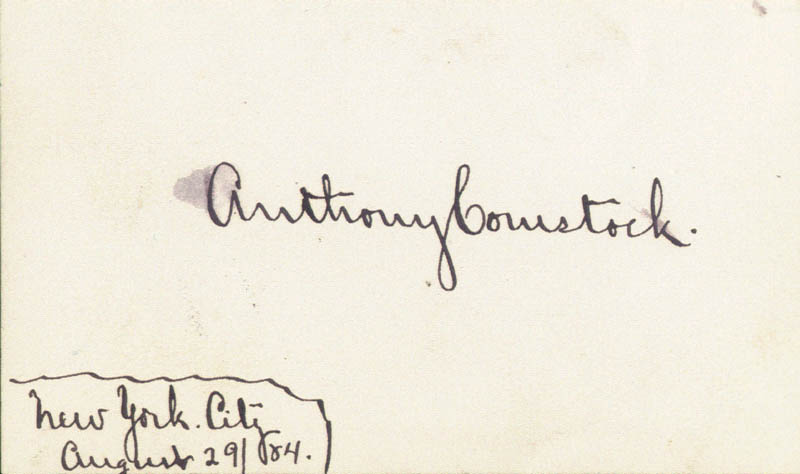 Image 1 for Anthony Comstock - Autograph Circa 1884 - HFSID 17793