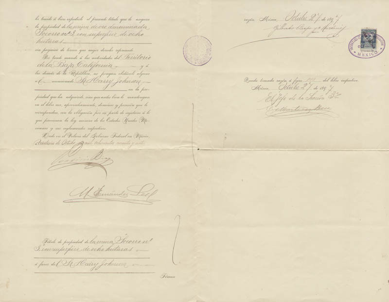 Image 1 for President Porfirio Diaz (Mexico) - Document Signed 10/27/1897 with co-signers - HFSID 178029