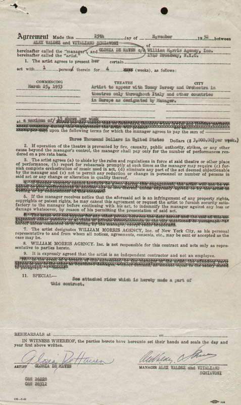 Image 1 for Gloria Dehaven - Contract Double Signed 11/25/1952 - HFSID 178211