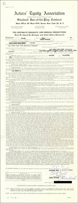 Image 1 for Eddie Bracken - Contract Multi-signed 07/02/1953 - HFSID 178214