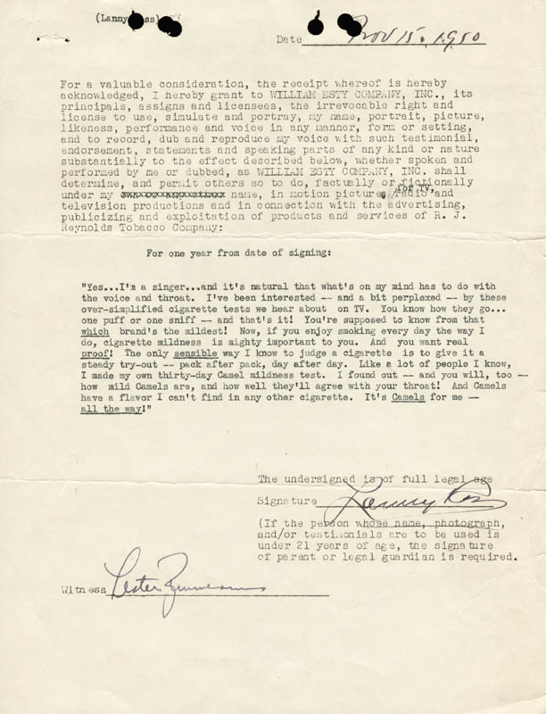 Image 1 for Major Lanny Ross - Contract Signed 11/15/1950 - HFSID 178233
