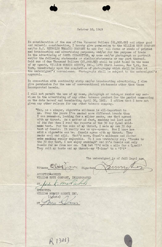 Image 1 for Major Lanny Ross - Contract Signed 10/10/1949 - HFSID 178234