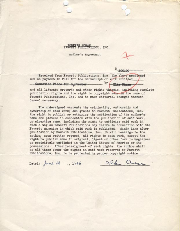 Image 1 for Ilka Chase - Contract Signed 06/12/1946 - HFSID 178248