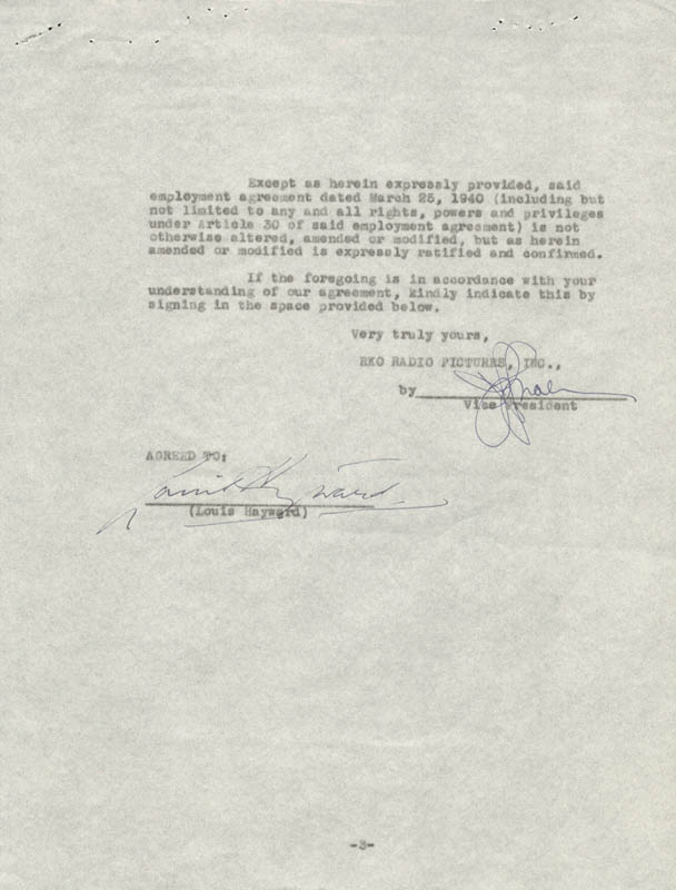 Image 1 for Louis Hayward - Contract Signed 01/29/1941 - HFSID 178254