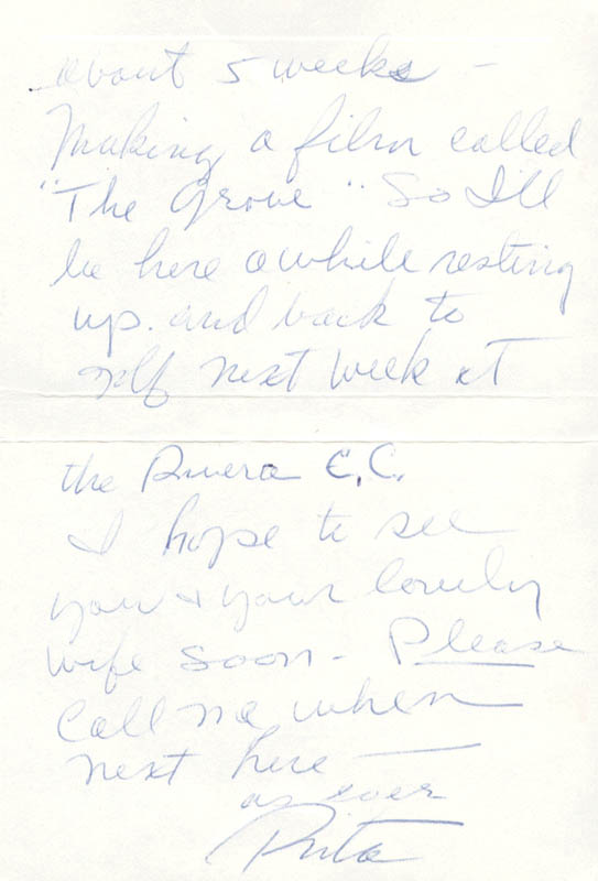 Image 1 for Rita 'The Love Goddess' Hayworth - Autograph Letter Signed - HFSID 178274