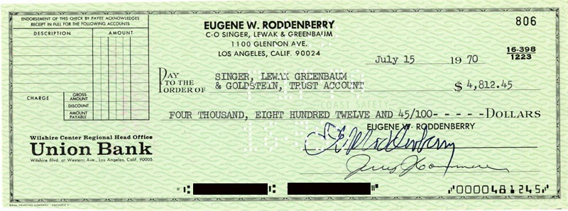 Image 1 for Gene Roddenberry - Autographed Signed Check 07/15/1970 - HFSID 178277