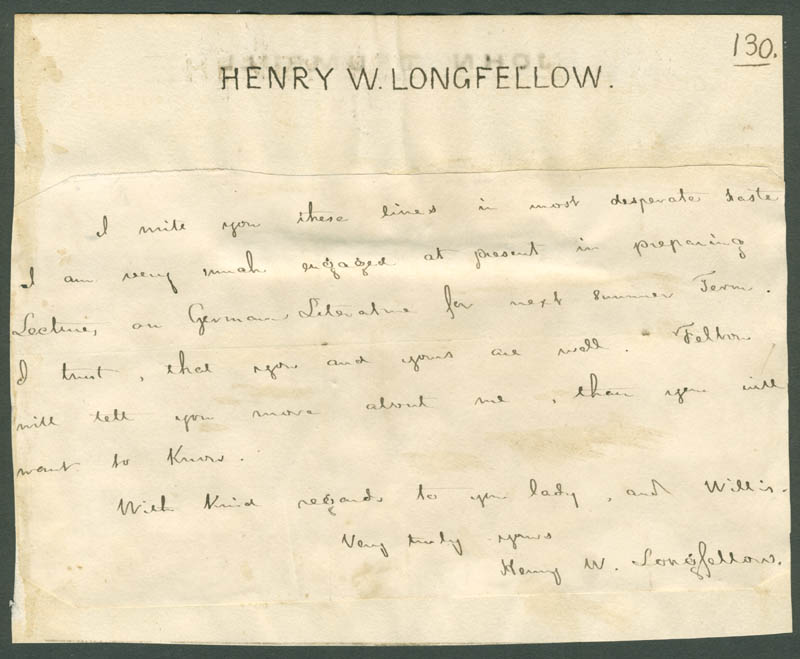 Image 1 for Henry Wadsworth Longfellow - Autograph Letter Signed co-signed by: Johannes Trumbull - HFSID 178299