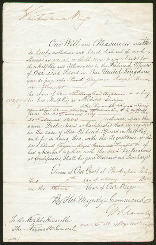Image 1 for Queen Victoria (Great Britain) - Manuscript Document Signed 05/19/1840 co-signed by: Thomas Babington Macaulay - HFSID 178354