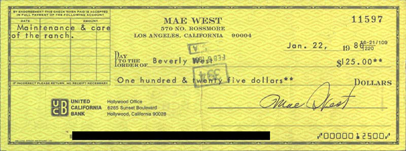 Image 1 for Mae West - Autographed Signed Check 01/22/1980 co-signed by: Beverly West - HFSID 178439