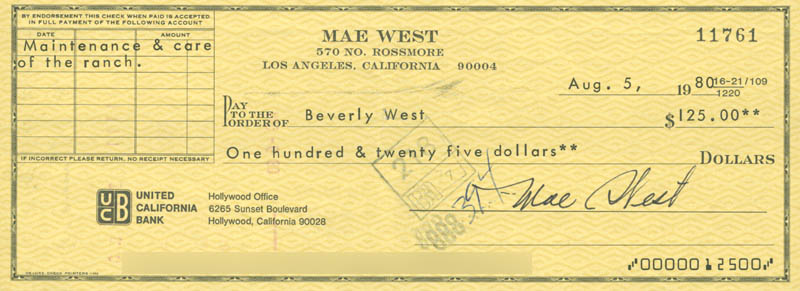 Image 1 for Mae West - Autographed Signed Check 08/05/1980 co-signed by: Beverly West, Charles H. Krauser - HFSID 178441