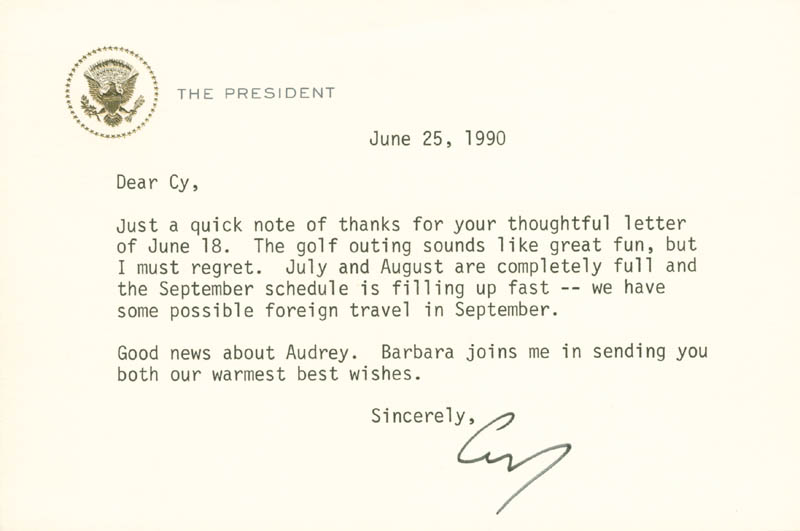 Image 1 for President George H.W. Bush - Typed Letter Signed 06/25/1990 - HFSID 178493