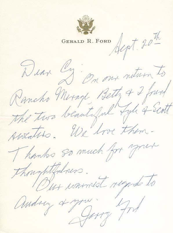Image 1 for President Gerald R. Ford - Autograph Letter Signed 09/20 - HFSID 178507