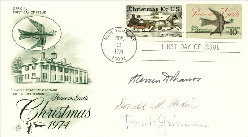 Image 1 for Stevan Dohanos - First Day Cover Signed co-signed by: Donald M. Hedin, Robert Geissmann - HFSID 17868