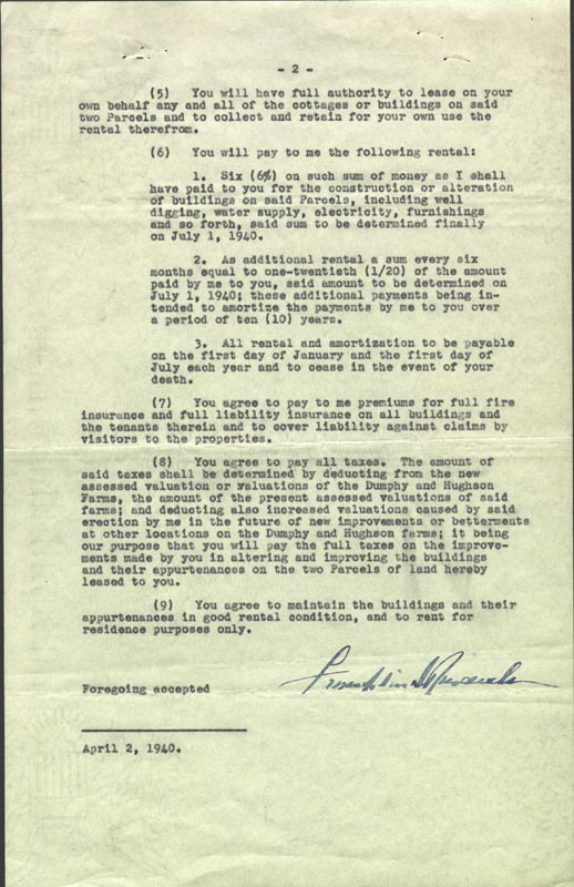 Image 1 for President Franklin D. Roosevelt - Document Signed 04/02/1940 - HFSID 178833