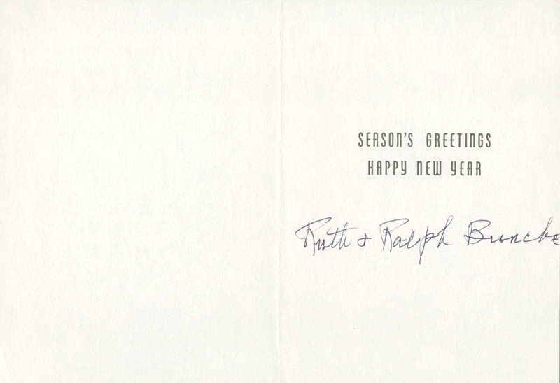 Image 1 for Ralph J. Bunche - Christmas / Holiday Card Signed - HFSID 178844