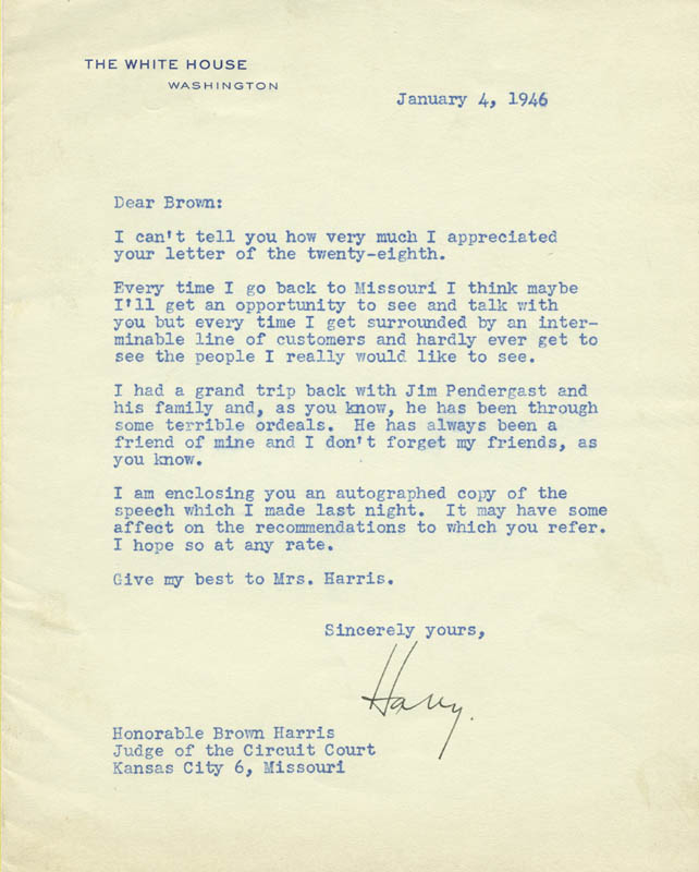 Image 1 for President Harry S Truman - Typed Letter Signed 01/04/1946 - HFSID 179373